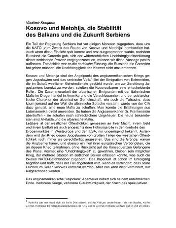 Kosovo und Metohija, die Stabilität des Balkans und die Zukunft ...