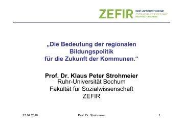 Prof. Dr. Klaus Peter Strohmeier - Freie Wohlfahrtspflege NRW