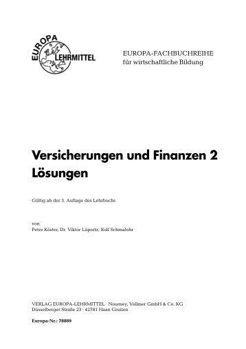 Versicherungen Und Finanzen 3 Europa Lehrmittel