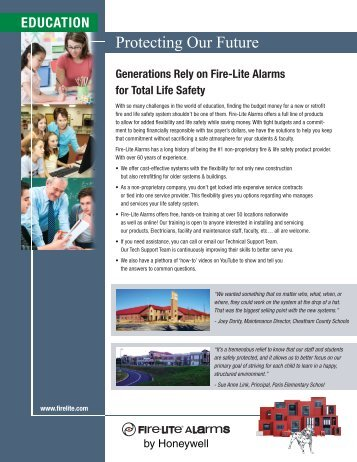Vertical Market Sell Sheet – Education - Fire-Lite Alarms