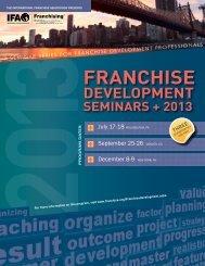 Franchise Development seminars + 2013 - International Franchise ...