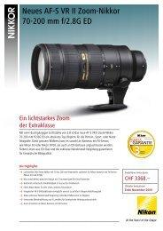 Neues AF-S VR II Zoom-Nikkor 70-200 mm f/2.8 ... - Foto Basler Aarau