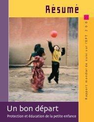 protection et éducation de la petite enfance, rapport mondial de suivi ...