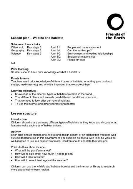Lesson plan wildlife and habitats - Friends of the Earth