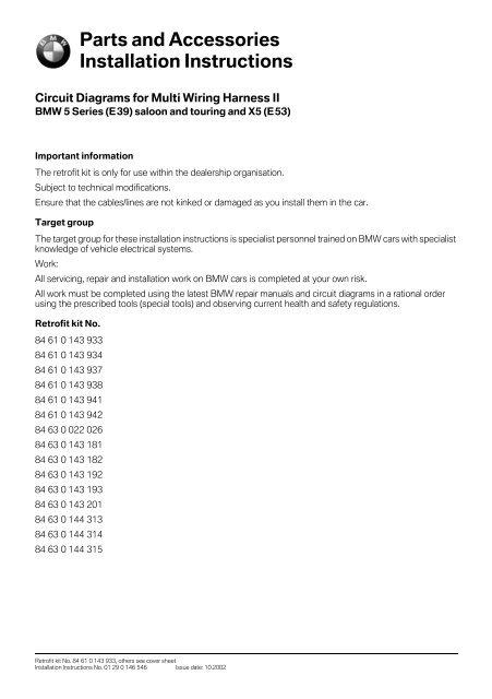 Circuit Diagrams For Multi Wiring Harness Ii E39 5879