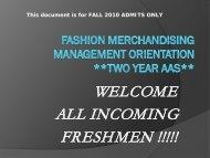 Fashion Merchandising Management Orientation