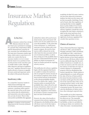 Insurance market regulation - October 2007 Fraser ... - Fraser Institute