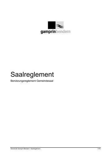 Saalreglement - Gemeinde Gamprin