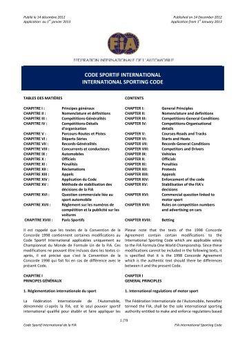 CODE SPORTIF INTERNATIONAL INTERNATIONAL ... - Rally Safety