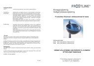 Montagevejledning Vedligeholdelsesvejledning - Frostline