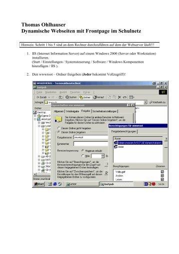Datenbankanbindung mit Frontpage im Schulnetz