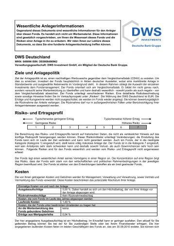 Wesentliche Anlegerinformationen DWS Deutschland Ziele und ...