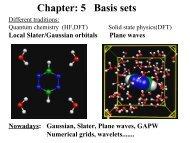 Chapter: 5 Basis sets
