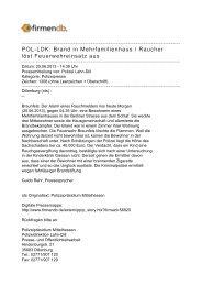 POL-LDK: Brand in Mehrfamilienhaus / Raucher löst ... - Firmendb
