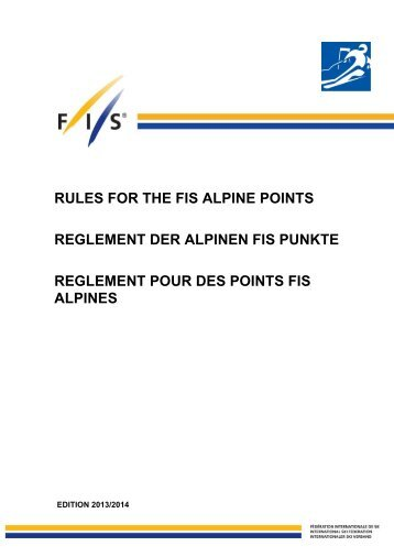 rules for the fis alpine points reglement der alpinen fis punkte ...