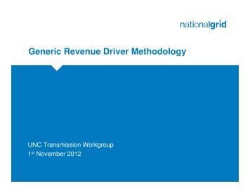 29 October 2012 Generic Revenue Driver Methodology (provided by ...