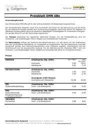 Preisblatt EMN öBe - Galgenen