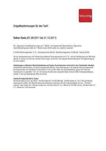 Entgeltbestimmungen für den Tarif: Balkan Basta (01.09.2011 bis ...