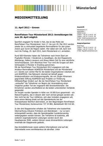 Medienmitteilung Erinnerung Anmeldefrist - Münsterland