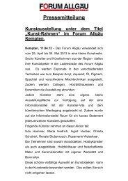 Pressemitteilung - Forum Allgäu, Kempten