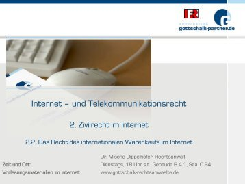Internationaler Warenkauf im Internet - Dr. Gottschalk ...