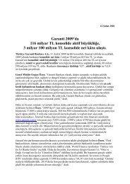 Garanti'nin 2009 konsolide aktif büyüklük ve ... - Garanti Bankası