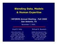 Blending Data, Models & Human Expertise INFORMS ... - Gams