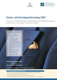 Finanz- und Vermögensberatung 2007 - Frankfurt School Verlag