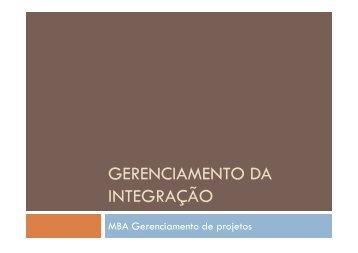 GERENCIAMENTO DA INTEGRAÇÃO - Fortium
