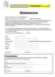 """Elterninitiative """"Frühchen""""Dortmund e.V. Mitgliedsantrag"""
