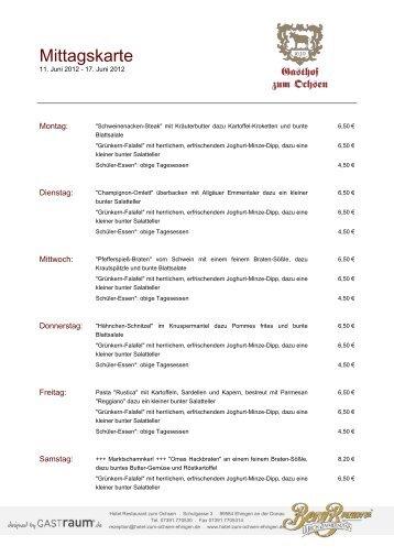 Mittagskarte - GastRaum