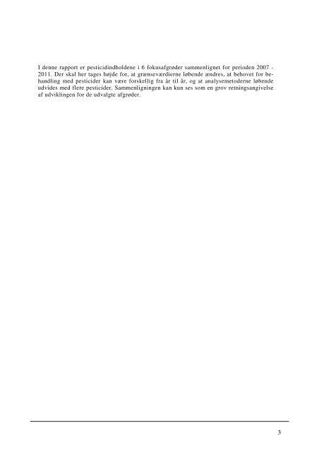 Pesticidrester i fødevarer 2011 - Fødevarestyrelsen