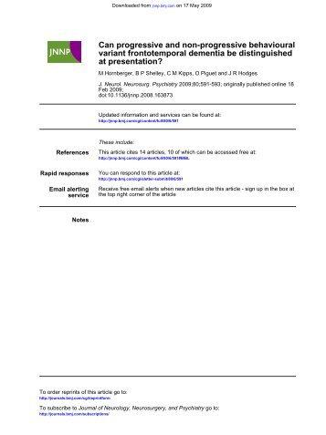 at presentation? variant frontotemporal dementia be distinguished ...