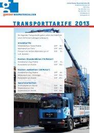 TRANSPORTTARIFE 2013 - Gasser Baumaterialien AG