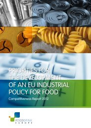 priorities for the development of an eu industrial policy for food