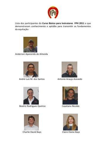 Lista dos participantes do Curso Básico para Instrutores FPH 2011 e ...