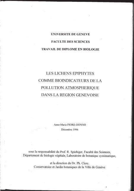LES LICHENS EPIPHYTES COMME BIOÏNDICATEURS DE LA