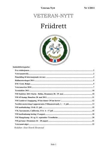 Veteran-Nytt 1/11 - Friidrett.no