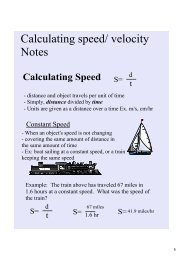 Calculating speed/ velocity Notes