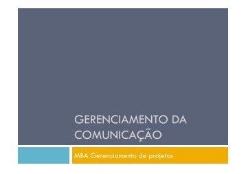 GERENCIAMENTO DA COMUNICAÇÃO - Fortium.edu.br