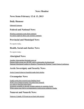 News Monitor News Items February 12 & 13, 2013 ... - Fort Simpson