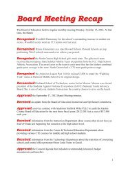 Board Meeting Recap - October 15, 2012 - Gaston County Schools