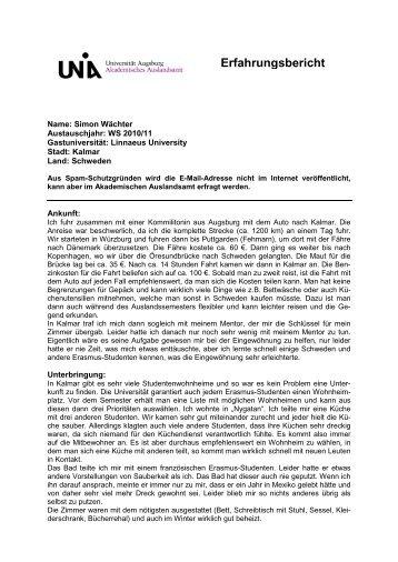 Erfahrungsbericht - Akademisches Auslandsamt