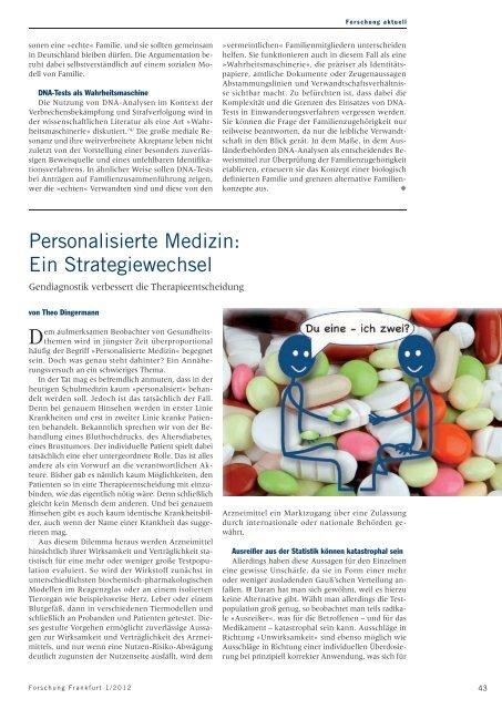 Personalisierte Medizin. Ein Strategiewechsel. Gendiagnostik ...