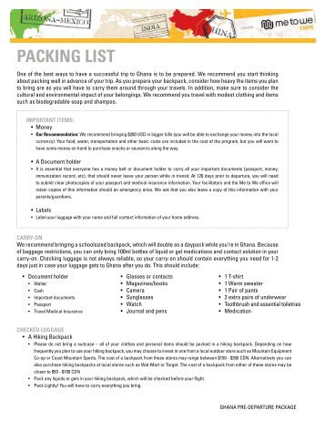 Packing List Ghana - 2013 Trips - Free The Children