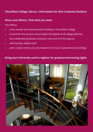 Fitzwilliam College Library : Information for New Graduate Students ...