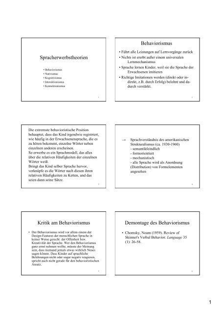 Spracherwerbstheorien Behaviorismus Kritik am ... - UK-Online