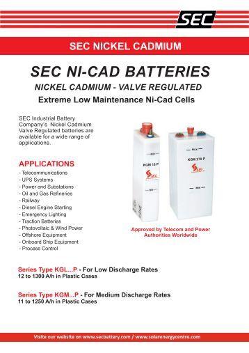 SEC Nickel Cadmium Valve Regulated Brochure - Fuel Cell Markets