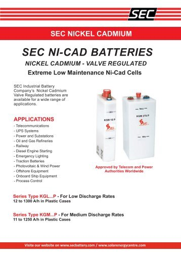 SEC Nickel Cadmium Valve Regulated Brochure - Fuel Cell Markets