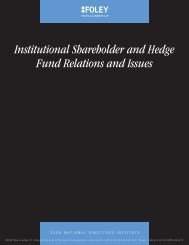 Institutional Shareholder and Hedge Fund Relations and Issues